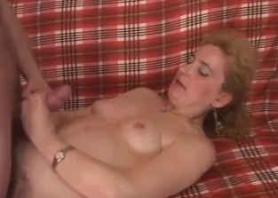 Stockings-clad blonde fucked by her own son