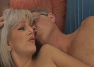 Blonde with bangs rides her father's cock