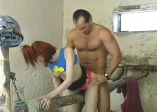Confused-looking redhead fucked by her dad