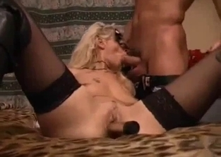 Stockings-clad and masked chick in incest sex session