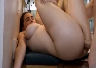 Ponytailed brunette fucks dad in front of a mirror