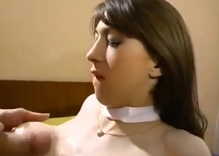 Stockings-wearing brunette doggy style drilled