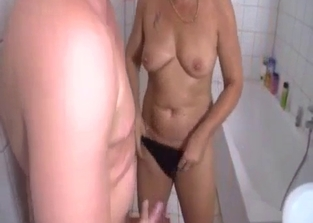 Red get-up mommy fucks her masturbating son