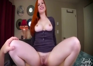 Redhead in purple is happy to see son's dick