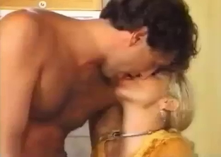 Submissive mommy fucked by her son in the kitchen