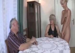 Naked blonde exploited by her horny parents