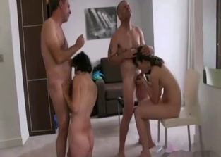 Incest foursome with mom and her horny daughter
