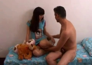Playful teen gets fucked by her hung dad