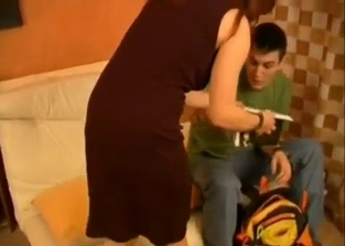 Glasses-wearing mommy punishes/fucks her son