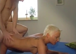Skinny blonde with tiny tits rides brother's cock