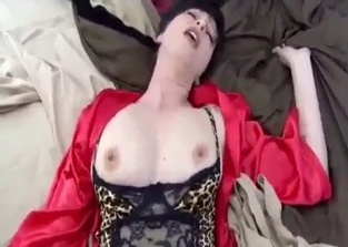 Busty mommy in red enjoys son's giant cock